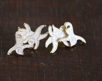 Vintage Sparkly Ghost Stud Goldtone Earrings, halloween earrings, estate jewelry, gifts for her, ghost earrings