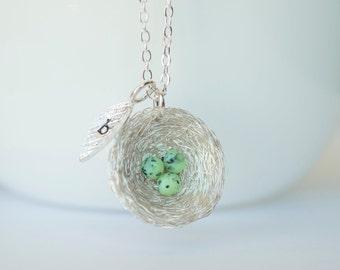 Robin's Nest Necklace, Robin Necklace, Bird Nest Necklace, Speckled Egg Necklace, Robins Egg Necklace, Baby Shower Necklace, Bridal Necklace