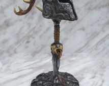 skyrim mini deer horn helmet with sword and shield stand