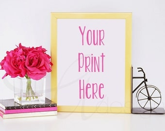 Gold Vertical Frame with Pink Flowers, Notebooks & Bicycle Bookend / Styled Stock Photography / Product Background / Digital Background