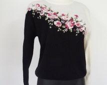 90s Sweater, UK10/12, Ladies Vest / Pullover, US6/8, Boho Jumper, Retro, Vintage, Christmas, Knitwear, Vintage Top, Floral, Bold, Quirky