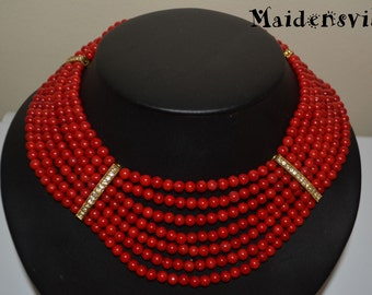 Deep Red Coral Necklace, Coral Multi-strand Necklace, Seven Strand Necklace, Coral Bead Necklace
