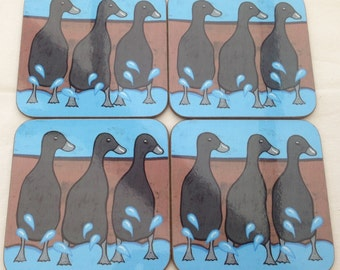 Set of 4 Coasters printed featuring my black running duck design
