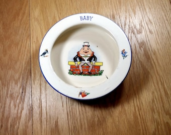 Vintage Baby Dish Childs Bowl Humpty Dumpty Baby Bowl 1930s Baby Plate Nursery Rhymes Childs Dish Ceramic Childrens Dishes