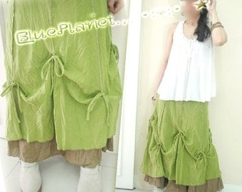 Tied 8 Points Layered Long Skirt Y.Green