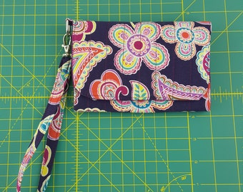 Quilted Cell Phone Wallet w/ Wristlet Strap