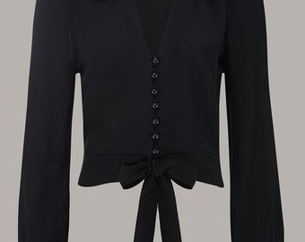 1940's Vintage Inspired Buttoned 'Clarice Blouse' in Black