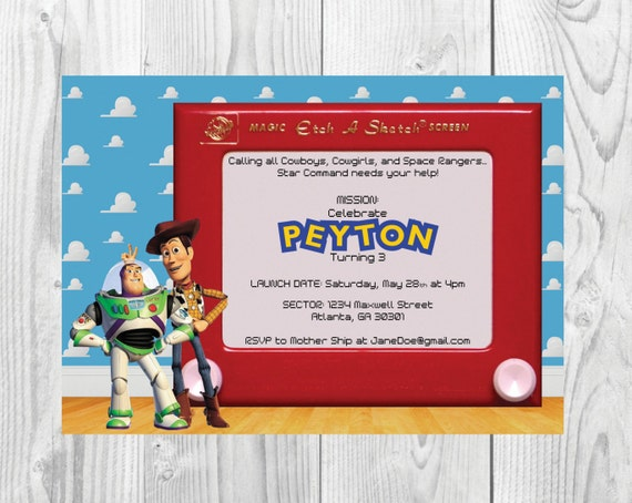 Toy Story Birthday Party Invitation << Woody Birthday Invitation >> Buzz Lightyear Birthday Invite >> Custom Printable Digital File