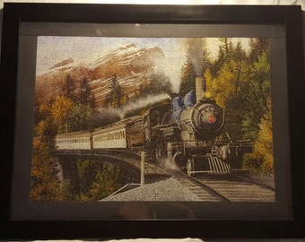 Train Chugging Through the Mountains Framed Puzzle Art
