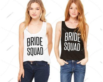 "Women - Girls - Premium Retail Fit ""Bride Squad"" 2016 Flowy Tank (S,M, L, XL)"