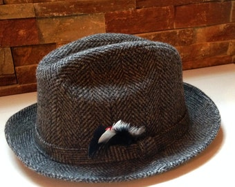 Vintage Fedora Hat, Grey Wool with feather, United Hatters Cap & Millinery Workers Union, vintage accessories, mens, 1970s, size small