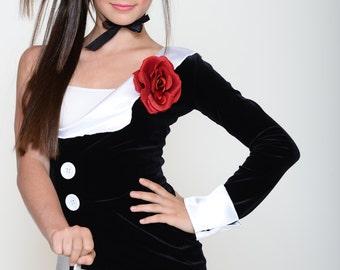 Velvet Jacket - black/white - xs