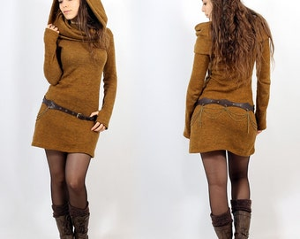 Pullover Dress Tribal, Elven, Mori, Hippy, Coachella, Festival, Boho for Women, Alternative Clothing, big collar falling on shoulders, hood