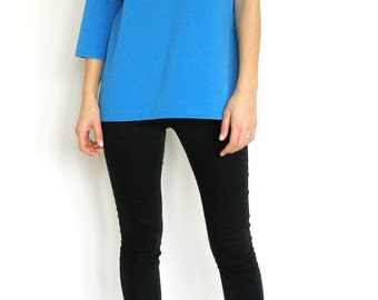 Asymmetric Electric Blue Jersey Top/Casual Electric Blue Tunic/Designer Stylish Tunic?Oversized Top