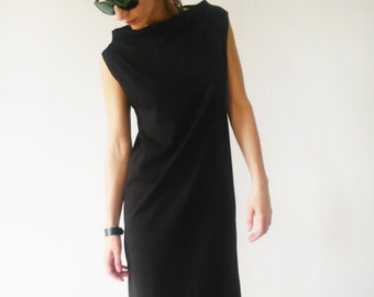 Oversized Loose Fit Black Jersey Maxi Dress/Plus size Unique Causal Long Women's Dress/Minimal Stylish Maxi Dress
