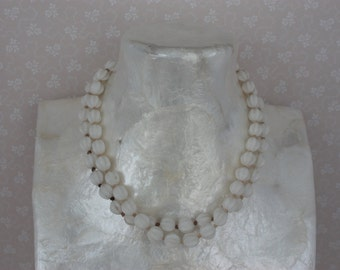 50s Milk Glass Necklace - Short White Bead Necklace - Vintage Double Strand Choker MADE IN GERMANY