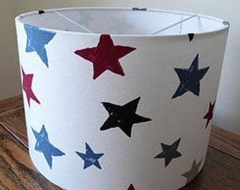 Handmade Drum Lamp Shade in Superstar Fabric