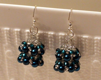 Pearl beaded handmade earrings in blue & white ; beadweaving, blue, white
