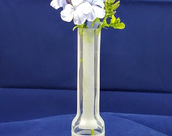 Up Cycled Vintage Bud Vase Etched with Stripes