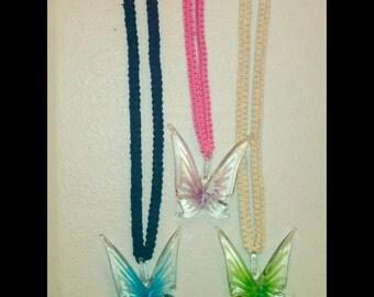Butterfly glass pendant hemp necklace