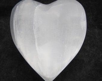 "Large 2.14"" X 2.41"" White Selenite Puffy Heart - Morocco  #4"