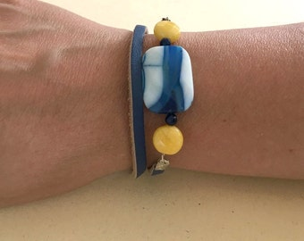 blue agate, yellow jade and  skin bracelet