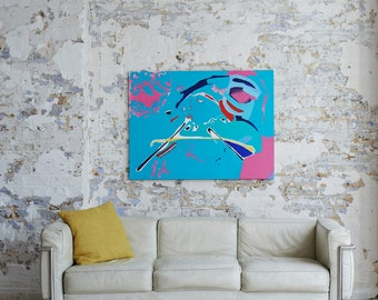 """Large Abstract Acrylic Painting by Adam Tallamy entitled """"Playtime"""""""