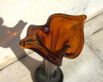 Art Deco Style Vase, Glass Vase, Vintage Vase, Dark Brown, Leaf Shaped Neck, Home decor