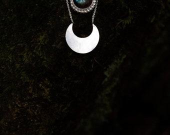 Akashi Labradorite Necklace; labradorite necklace, Layered necklace, Sterling silver necklace, bohemian moon necklace