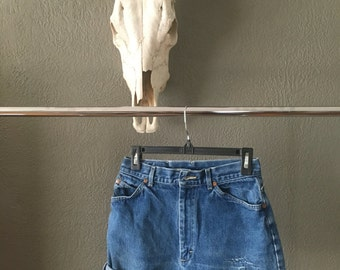 1980's High Waisted Lee Cut-off Jean Shorts Distressed Vintage Size 12/ Modern Size 0