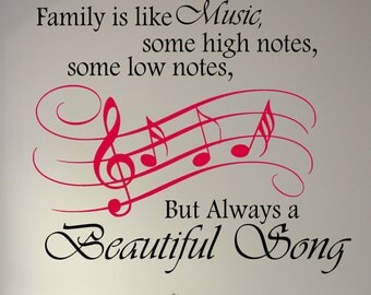 Family is like Music - Music Decal - Music quote Decal - Musical Notes Wall Decor - Music Staff Wall Sticker - Beautiful Song Quotation