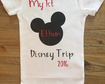 My First Disney Trip Shirt, Mickey Ears Shirts, Mickey Mouse Shirt, Disney World Shirt, Personalized Mickey Shirt, Disneyland Shirt