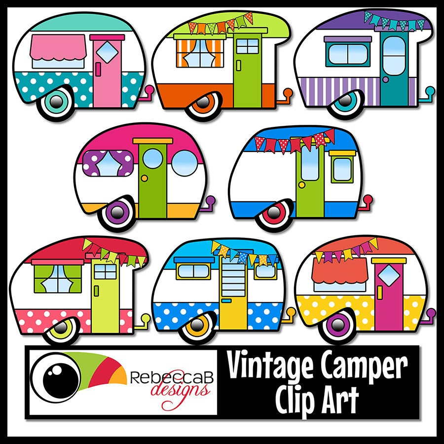 Vintage Camper Clip Art Retro Camper Clipart Vintage