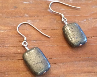 Pyrite and Sterling Silver Earrings