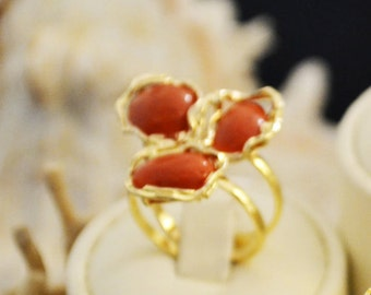 Gorgeous handmade Ring with red coral in the Mediterranean