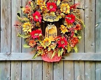 Fall Zinnia Door Wreath, Front Door Wreaths, Fall Door Wreaths, Autumn Wreaths, Thanksgiving Wreaths, Wreaths for Fall          W229