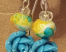 Blue Rose Watercolor Earrings