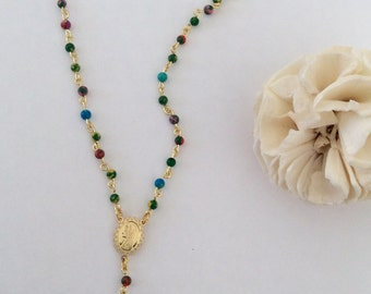 Short rosary necklace with turquoise multicolor