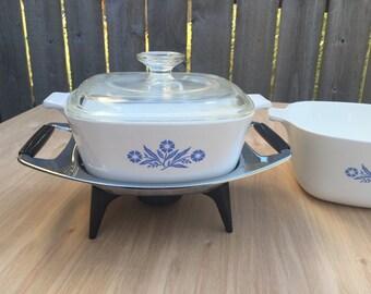 Blue Cornflower Corningware Casserole Dishes, Set of 3 with Chrome Casserole Warmer Tray by corningwear, vintage kitchen,