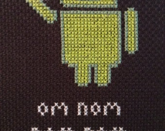 """Android cross stitch """"Om nom nom"""""""
