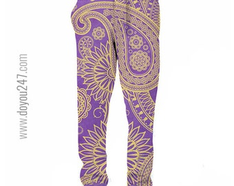 Paisley All Over Printed Jogger/Sweatpants Custom Made to Order