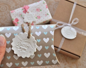 Birthday gift tag mix, set of 3, White birthday tag, gift embellishment, white clay tag, botanical gift tag, heart birthday tag, set of tags