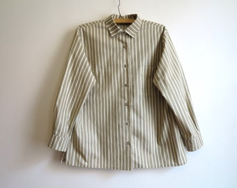 MARIMEKKO Shirt Khaki White Striped Shirt Womens Cotton Shirt Long Sleeves Shirt Womens Suit Shirt Extra Large Size