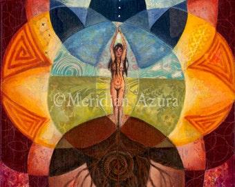Divine Feminine, Goddess, Sacred Geometry, Rebirth print