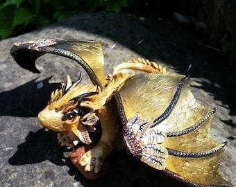 Polymer clay Dragon, sculpture Dragon, Golden Dragon, Sun Dragon, guardian Dragon