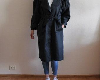 Black Coat Black Trenchcoat Women Trench Coat Belted Lining Trenchcoat Overcoat Raincoat Preppy Soviet Era Shoulder Pads Hidden Buttons