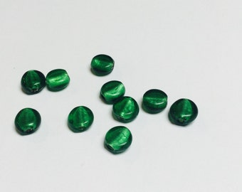 Foiled Glass Emerald Green Coin Beads - 18 Pieces - #121