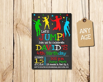 JUMP BIRTHDAY INVITATION, for boy, invitation Printable, Jump Invitation, Jump, Jump Birthday, Bounce Birthday Invitation,  Let's Jump