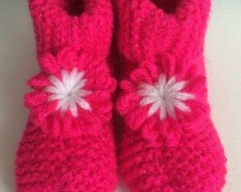 Kids Pink Flower Slippers