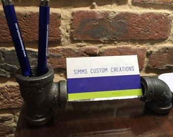 Iron Pipe Business Card Holder